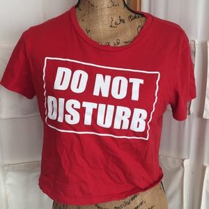 "Crop Top - Red size Large - ""Do Not Disturb"""